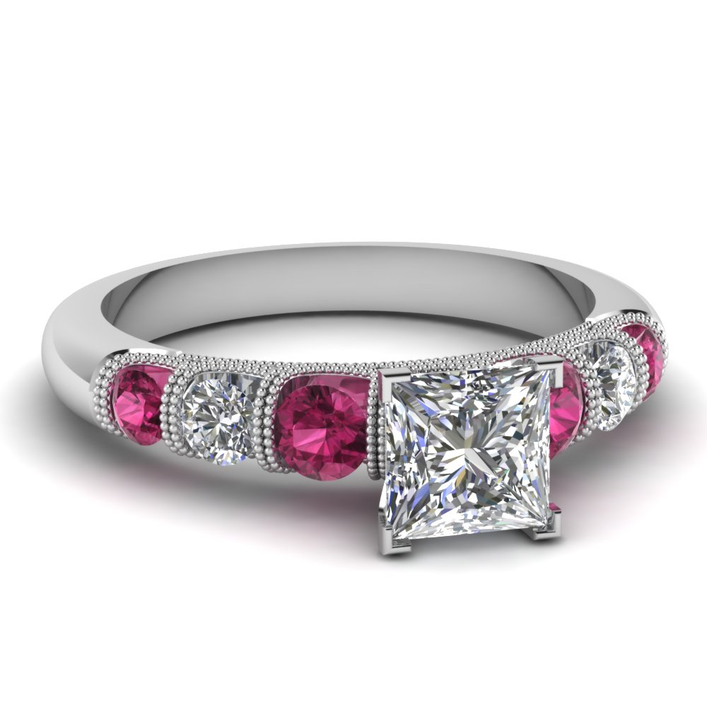 Pink sapphire engagement rings fascinating diamonds for Princess cut pink diamond wedding rings