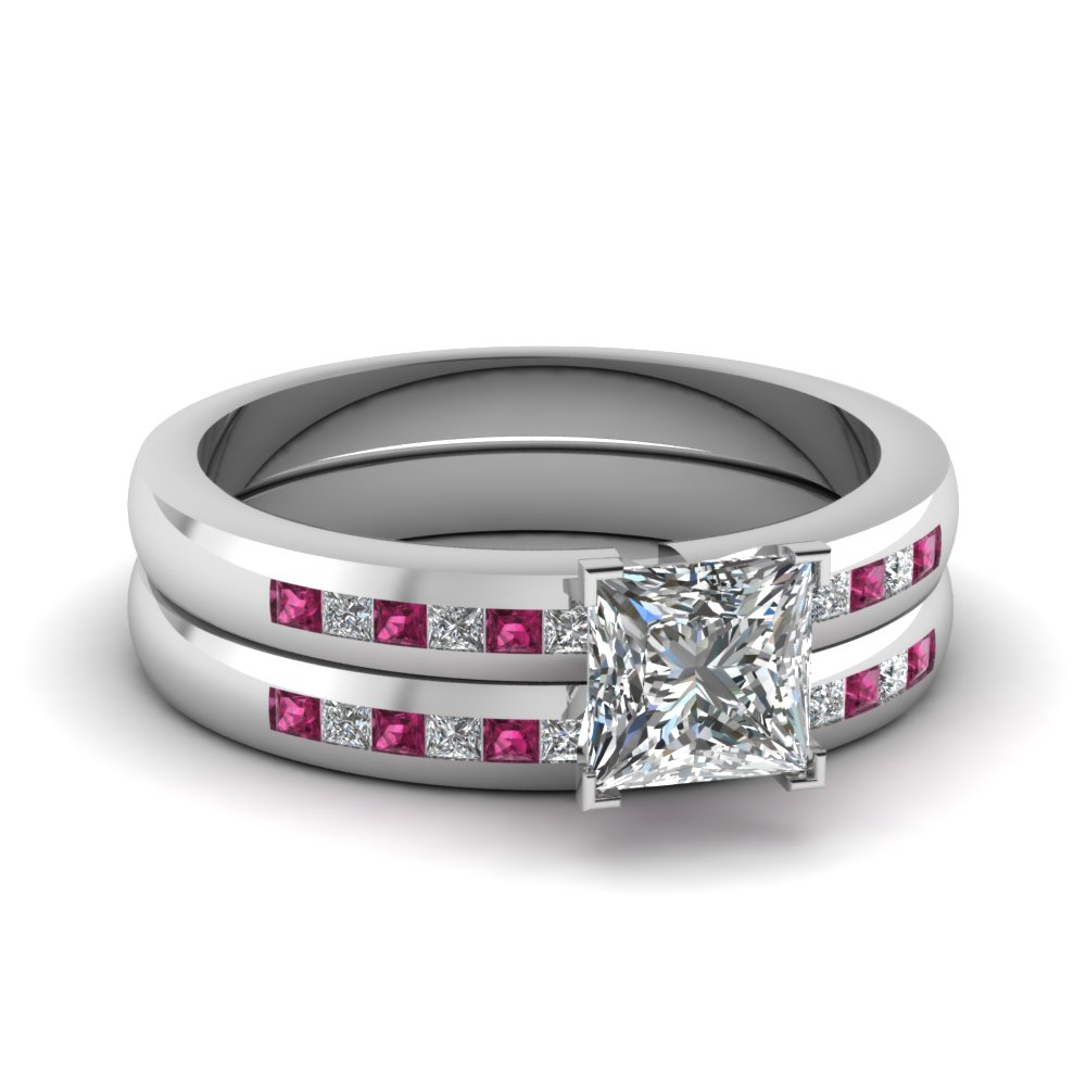 Channel Pink Sapphire Wedding Ring Set
