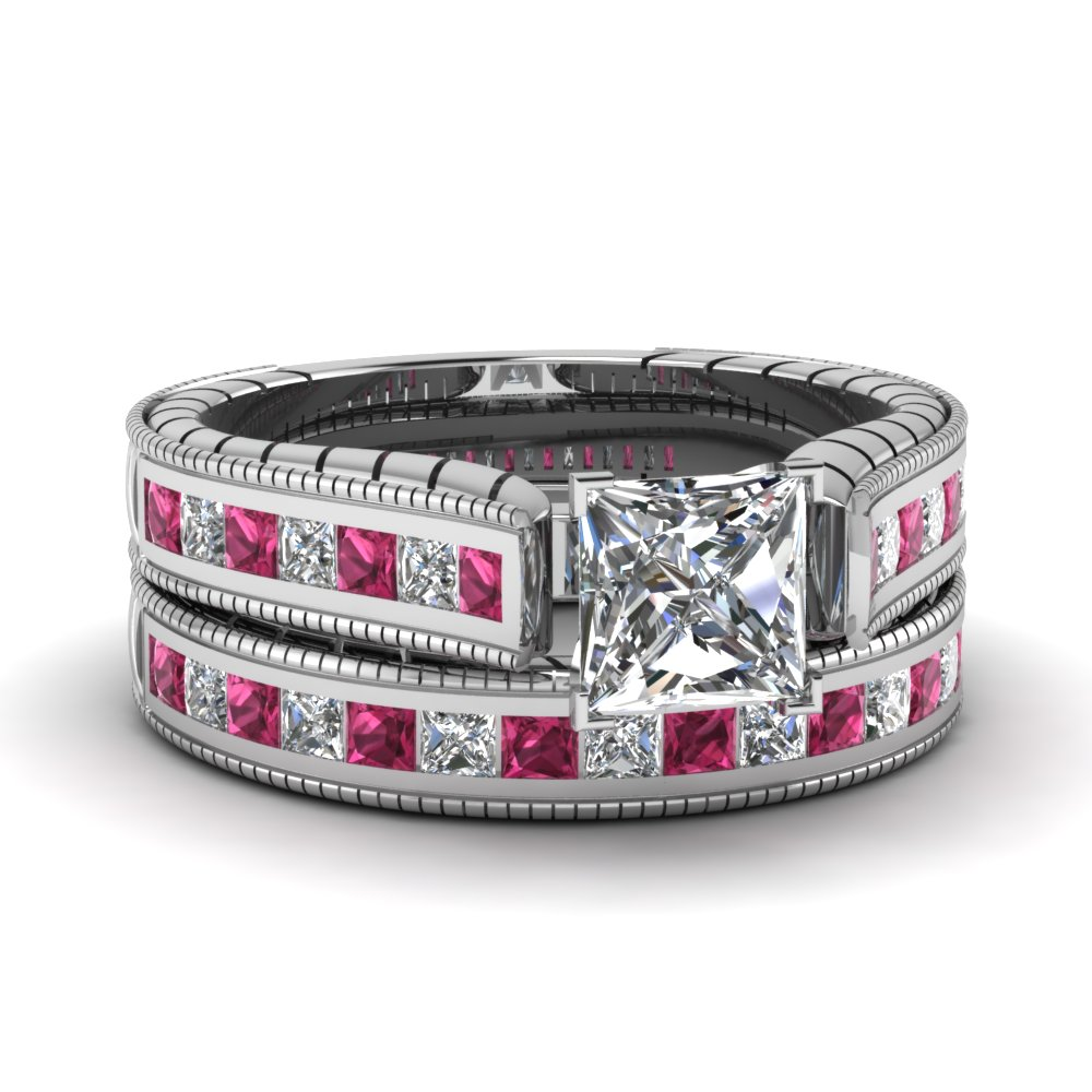 white gold princess white diamond engagement wedding ring - Pink Wedding Ring Set