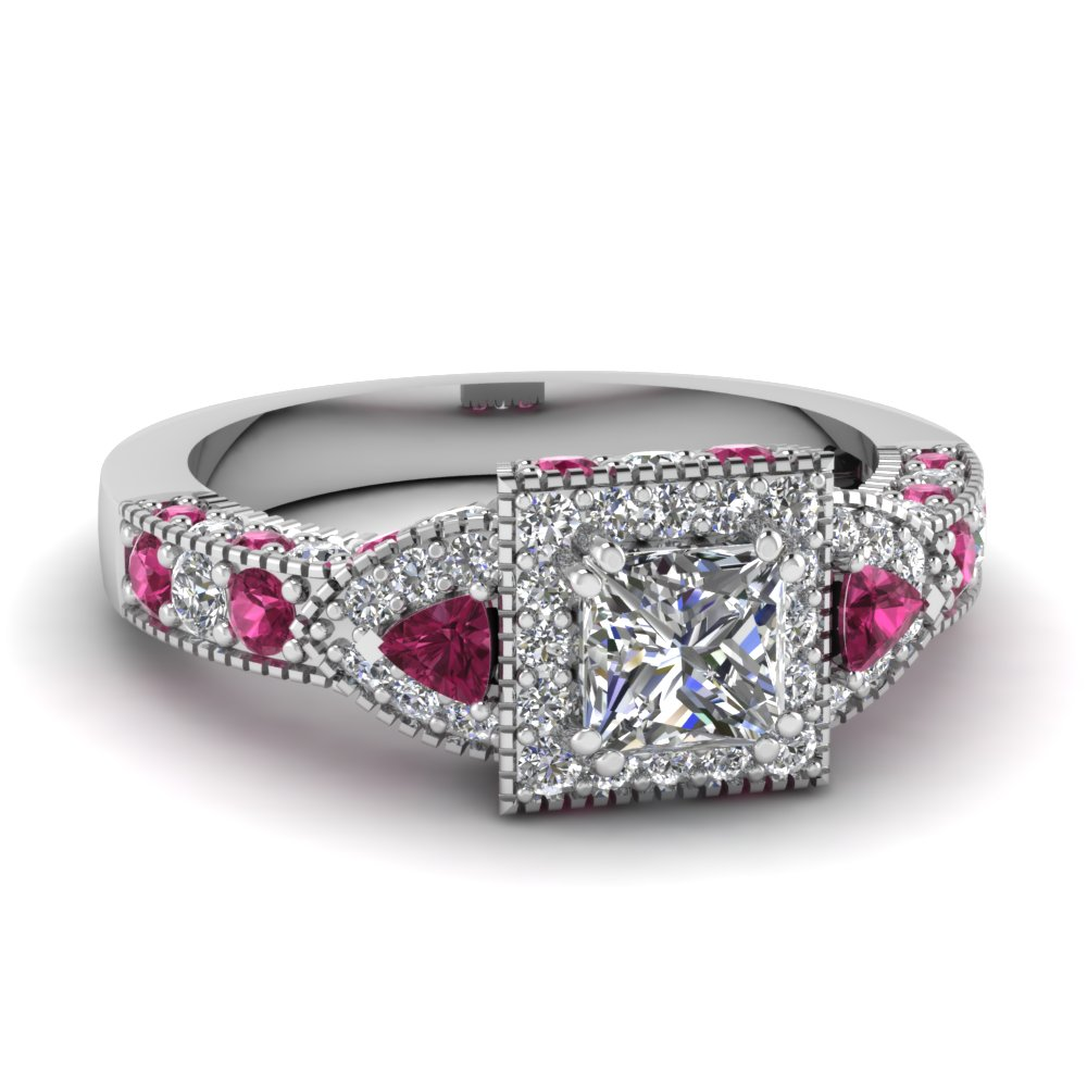 Trillion halo princess cut diamond engagement ring with for Princess cut pink diamond wedding rings