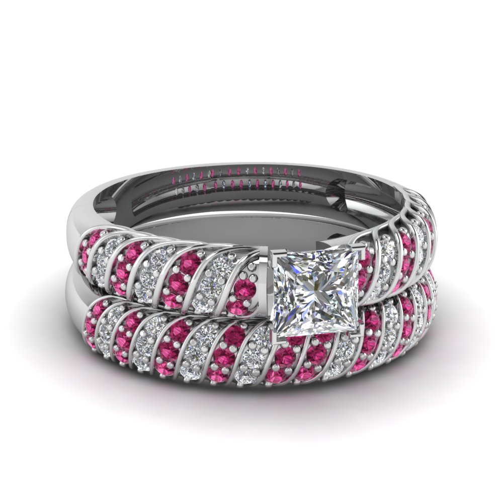 Princess Cut Pink Sapphire Wedding Sets