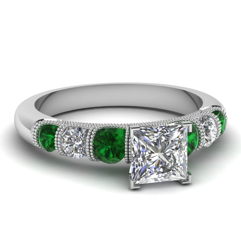 princess cut milgrain prong bar set diamond engagement ring with emerald in FDENS1783PRRGEMGR NL WG