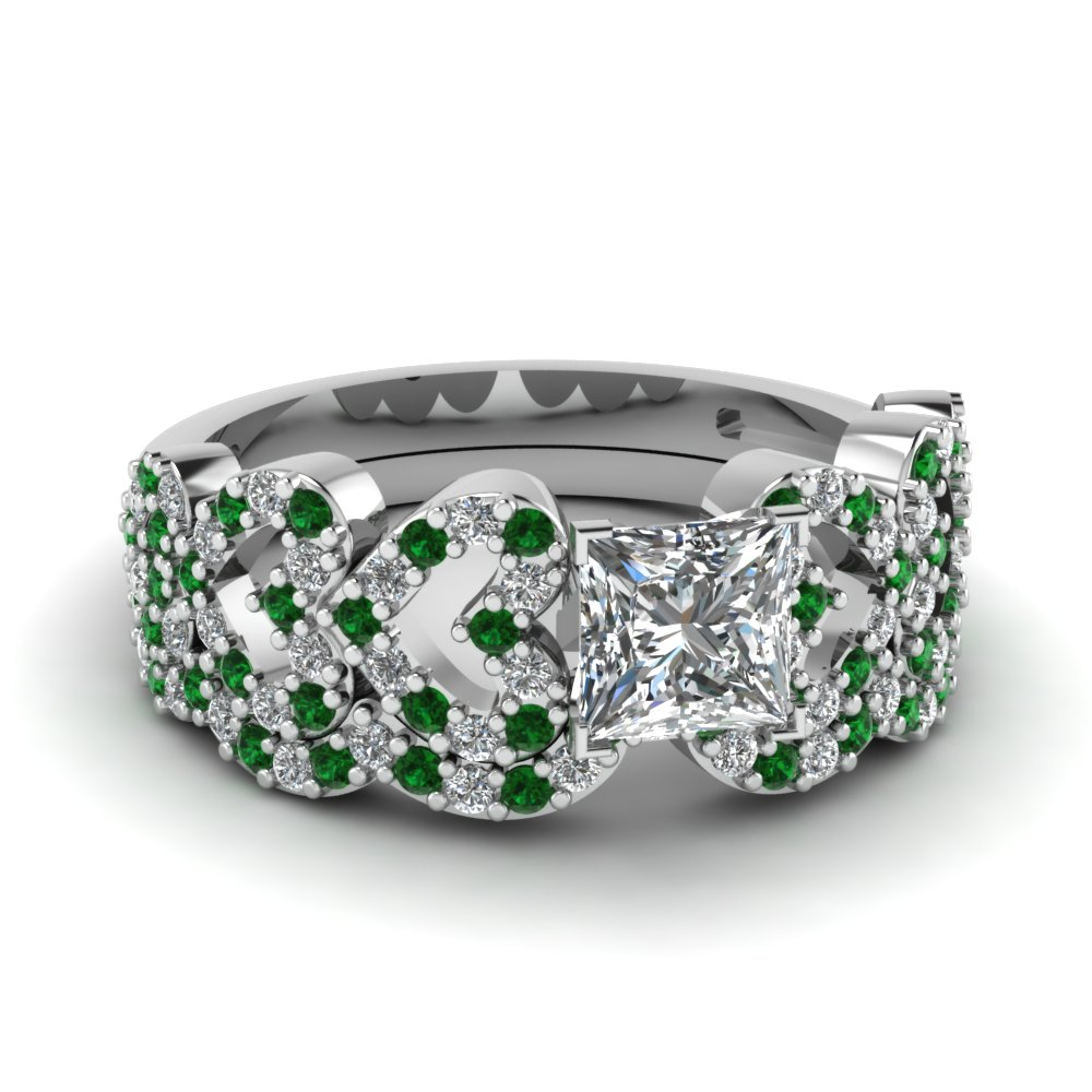 princess cut heart design linked diamond wedding set with emerald in FDENS3051PRGEMGR NL WG.jpg