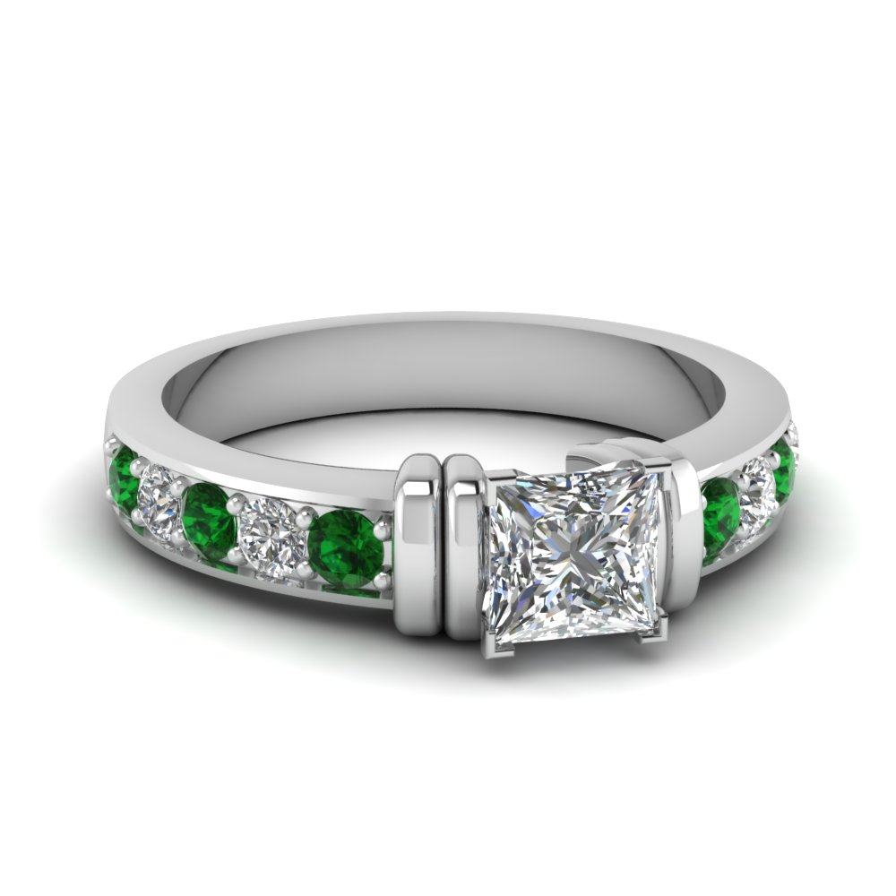 simple bar set princess cut diamond engagement ring with emerald in FDENR957PRRGEMGR Nl WG