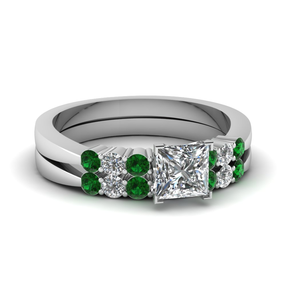 princess cut tapered 7 stone wedding ring set with emerald in FDENS750PRGEMGR NL WG