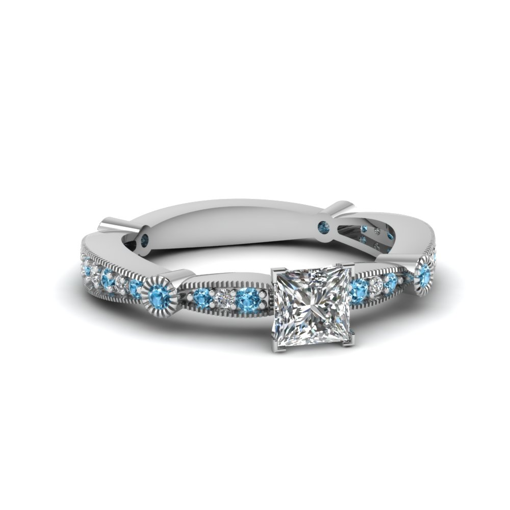 princess cut diamond vintage tapered engagement ring with blue topaz in FDENS3026PRRGICBLTO NL WG