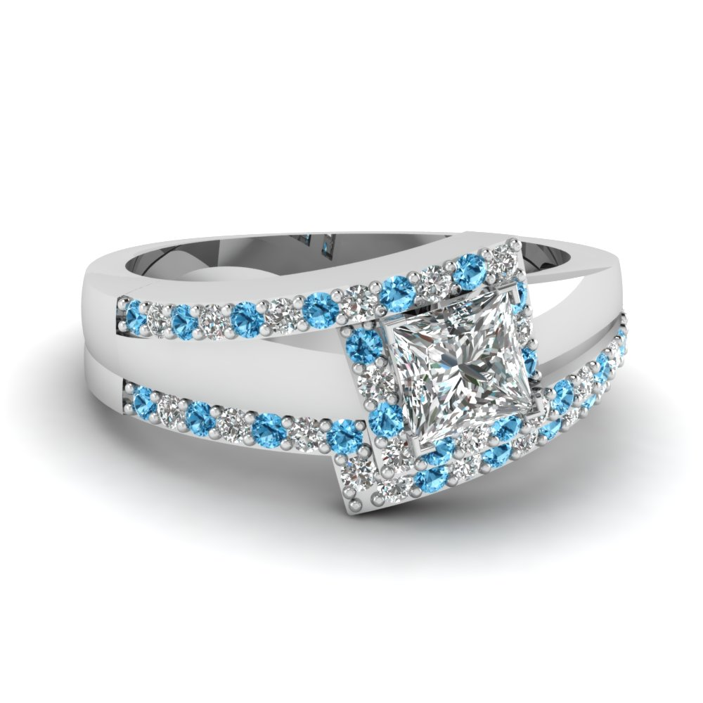 Crossover princess cut halo diamond wedding set with blue for Blue topaz wedding ring sets