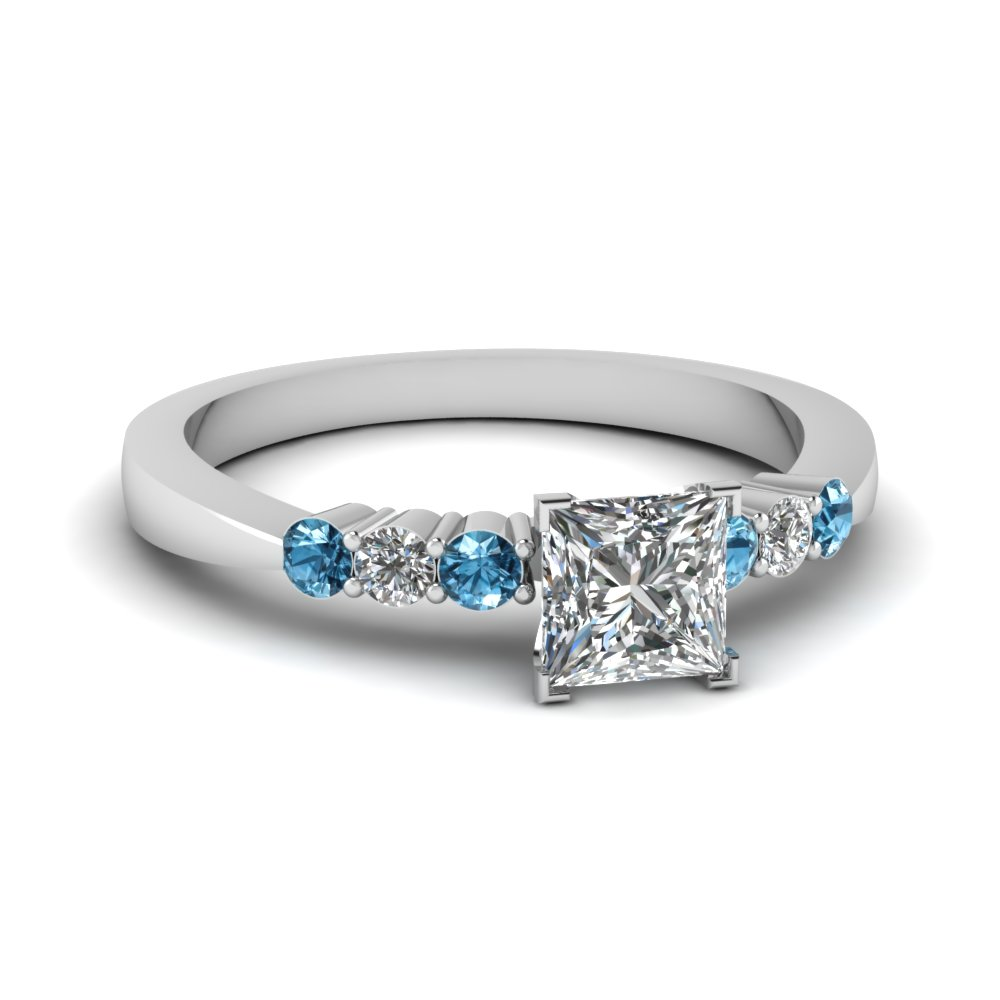 princess cut tapered 7 stone engagement ring with blue topaz in FDENS750PRRGICBLTO NL WG