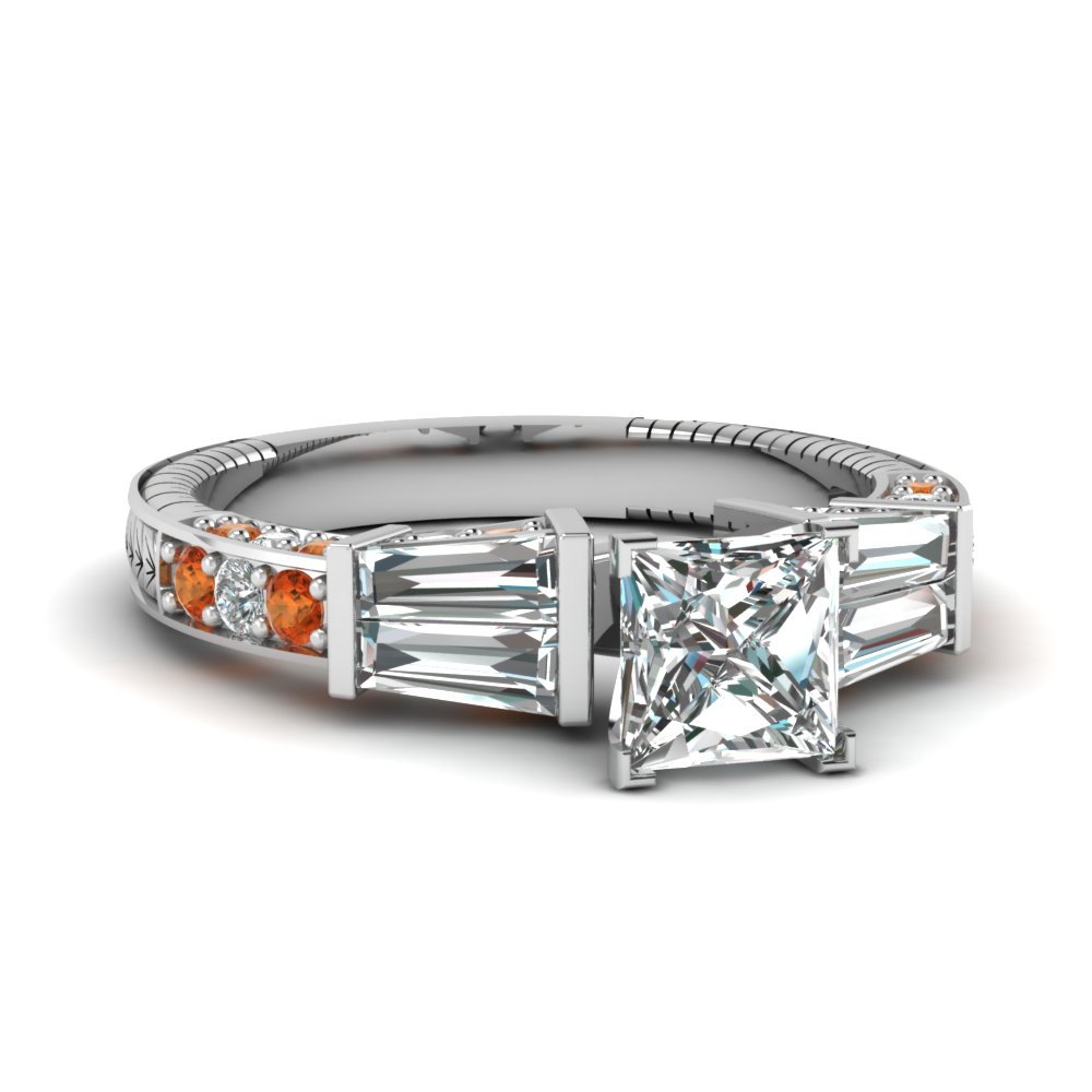 vintage baguette princess cut diamond engagement ring with orange sapphire in FDENS318PRRGSAOR NL WG