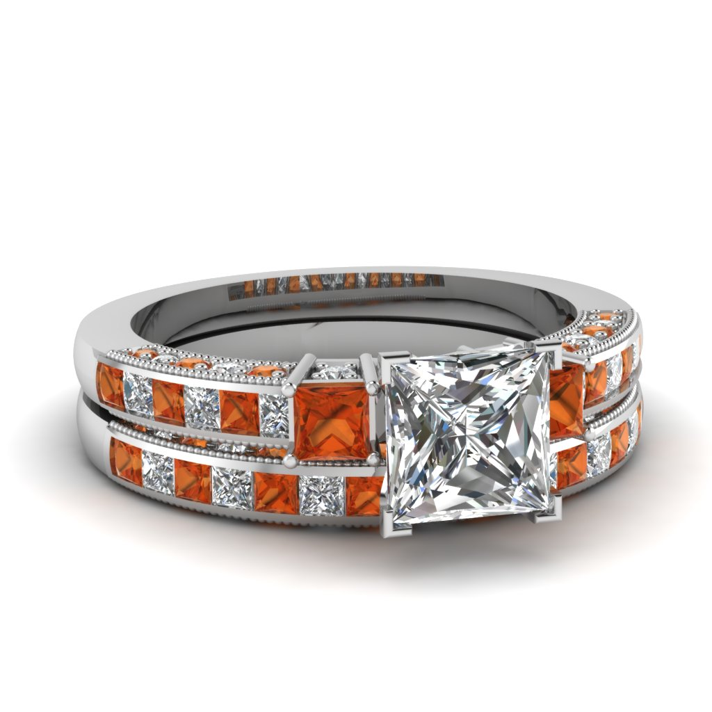 Shop For Stunning Orange Sapphire Engagement Ring |Fascinating Diamonds