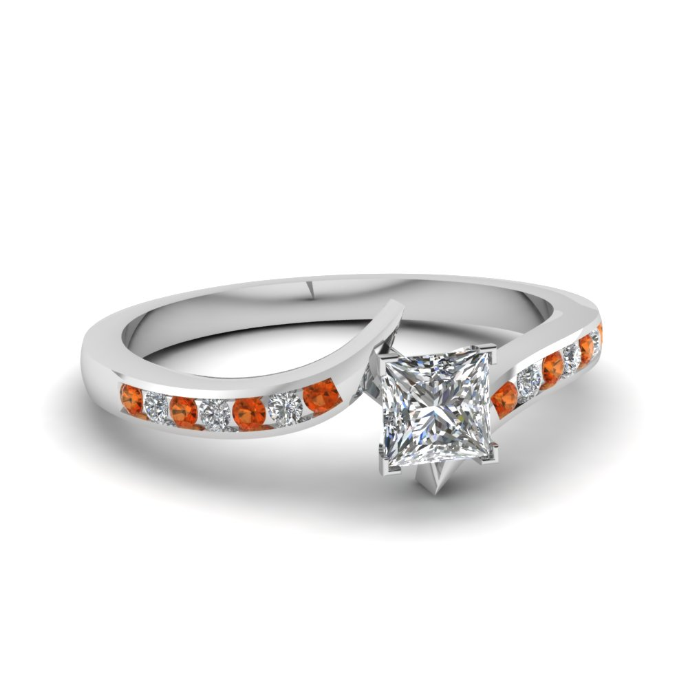 twist channel princess cut diamond engagement ring with orange sapphire in FDENS3094PRRGSAOR NL WG 30