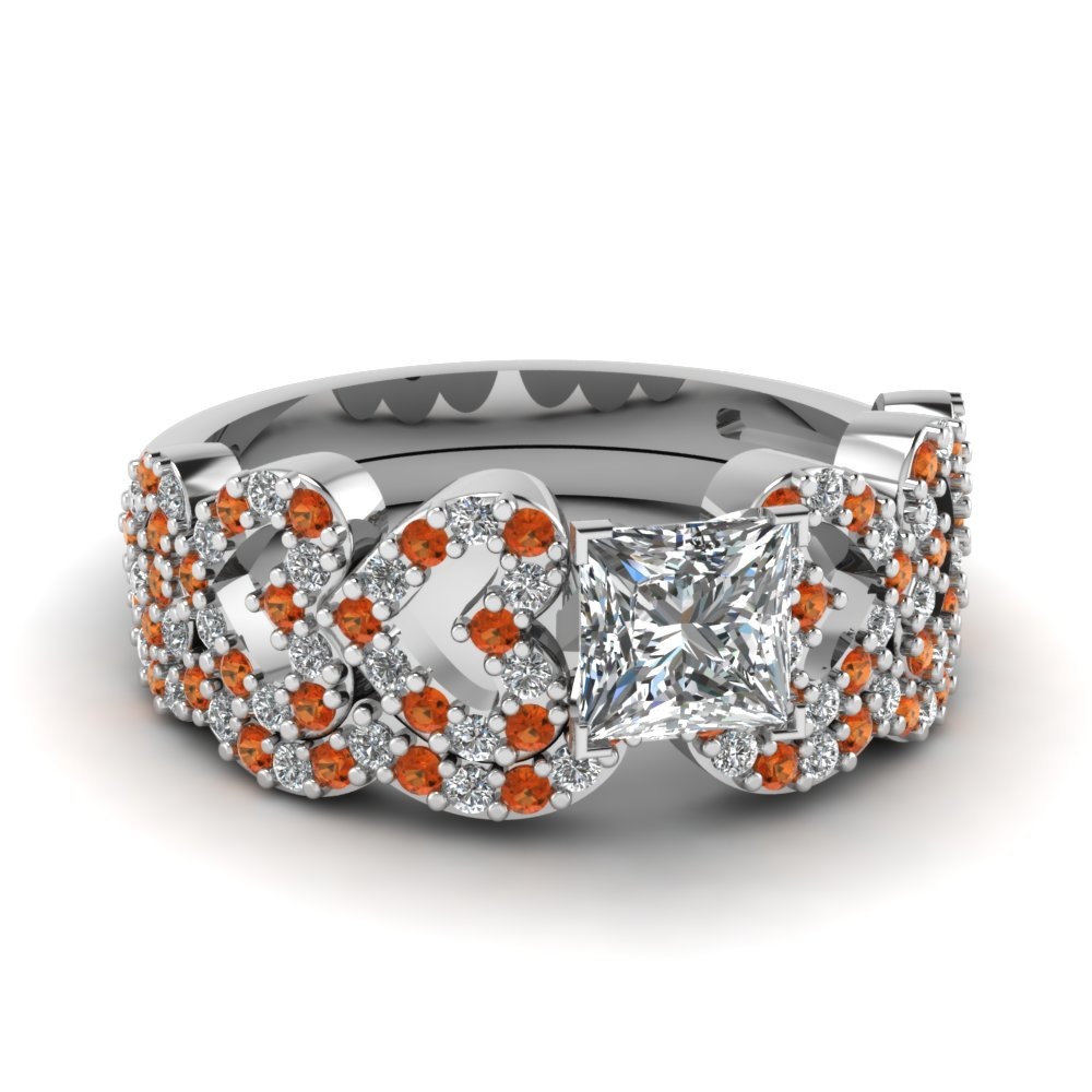 princess cut heart design linked diamond wedding set with orange sapphire in FDENS3051PRGSAOR NL WG.jpg