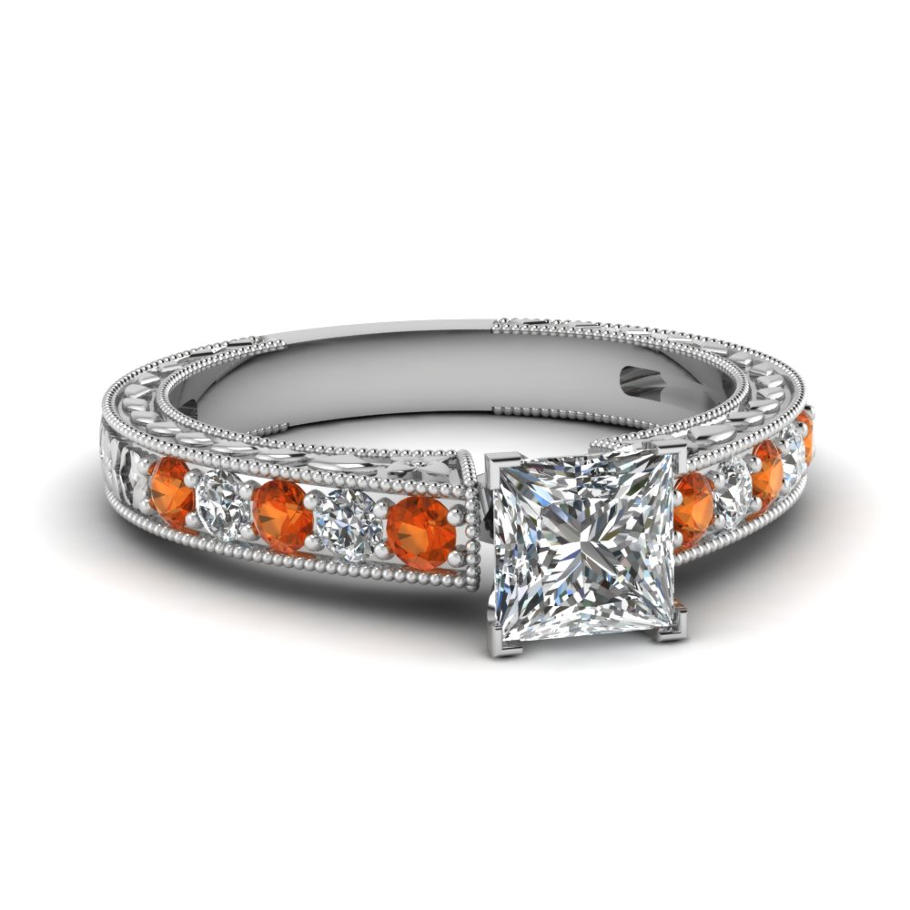 Princess Cut Engraved Lab Diamond Ring