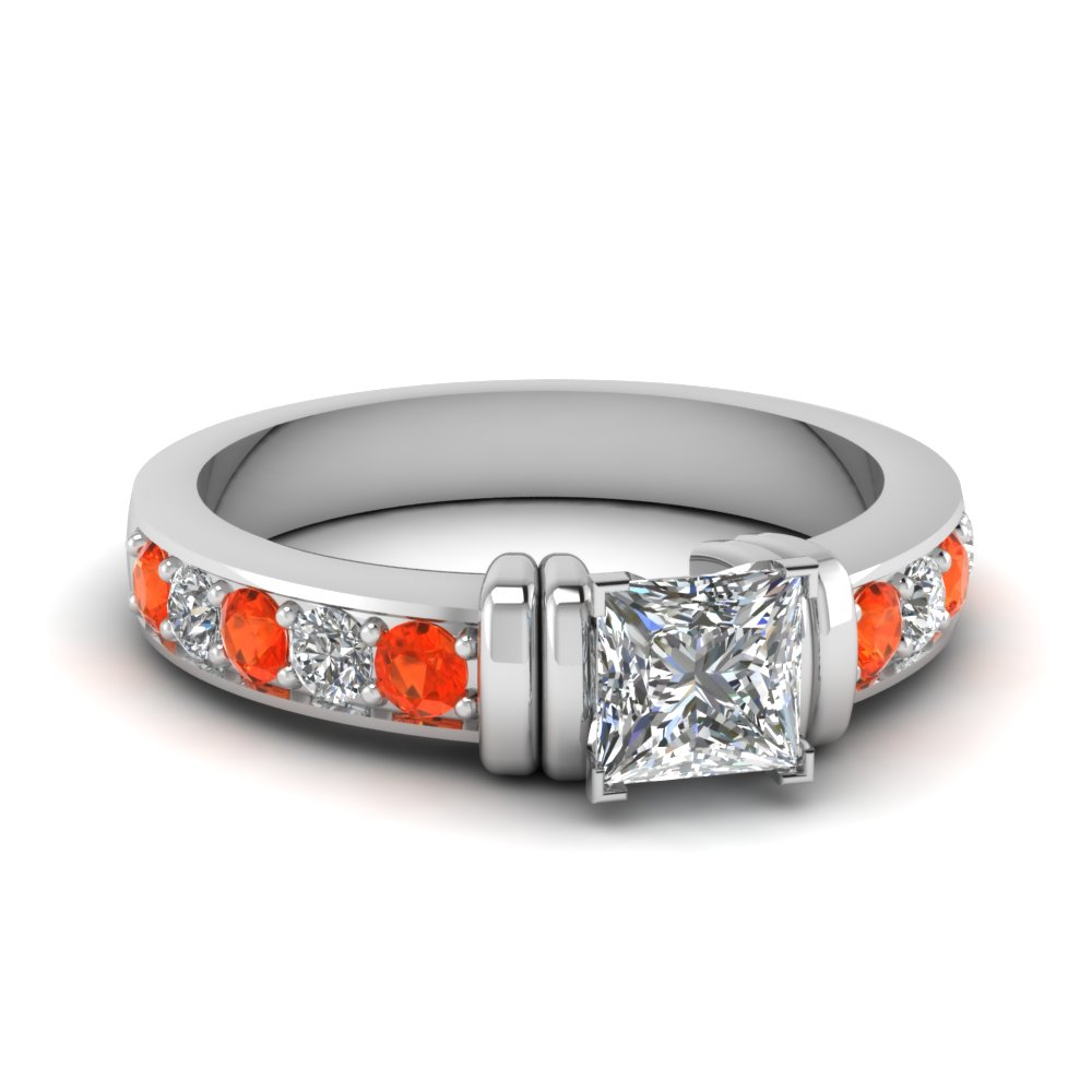simple bar set princess cut moissanite engagement ring with orange topaz in FDENR957PRRGPOTO Nl WG