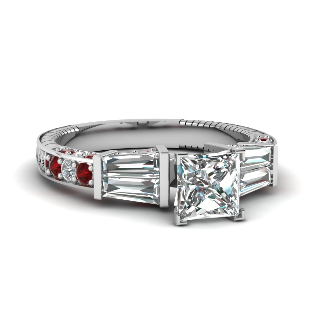 vintage baguette princess cut diamond engagement ring with ruby in FDENS318PRRGRUDR NL WG