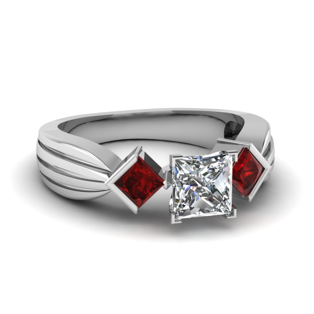 Half Bezel 3 Stone Ruby Ring
