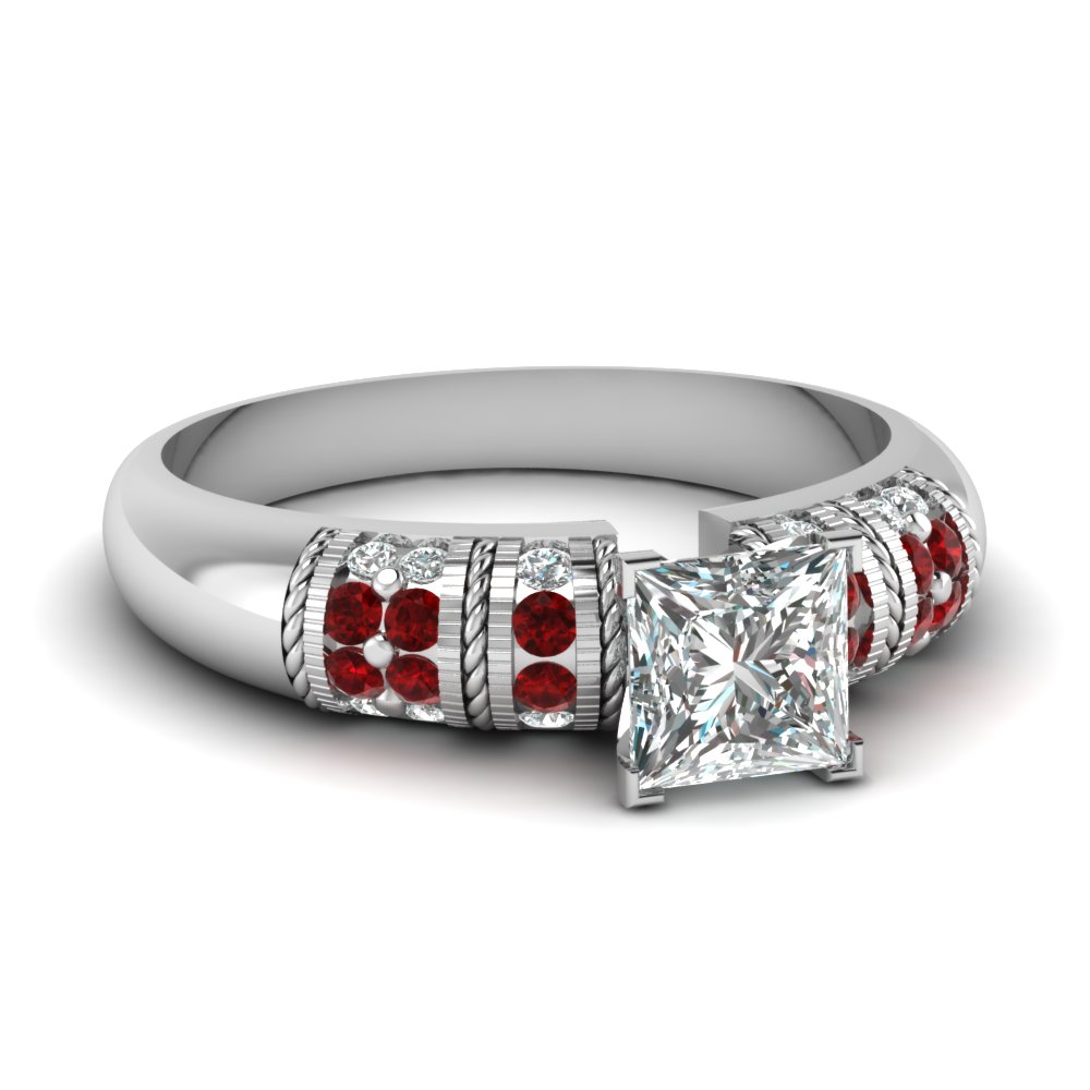 Ruby Engagement Rings With Princess Cut