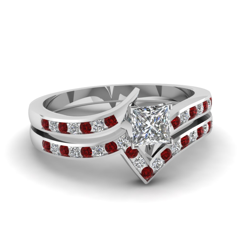 twist channel princess cut diamond wedding set with ruby in FDENS3094PRGRUDR NL WG 30