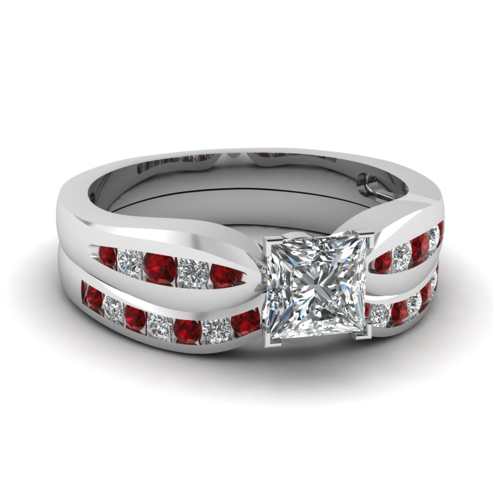 Channel Princess Cut Diamond Bow Wedding Set With Ruby In 14K White