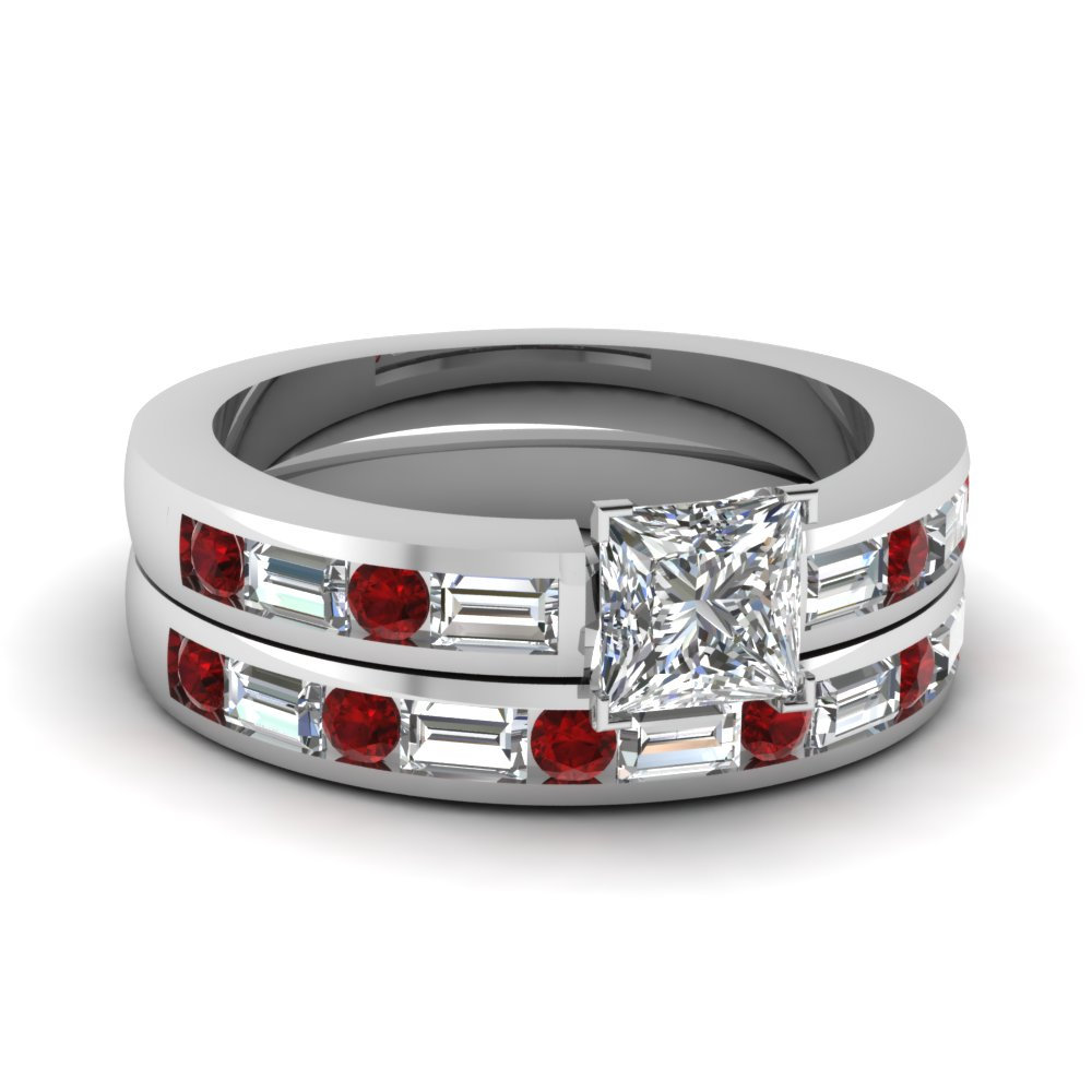 channel set baguette princess cut diamond wedding ring set with ruby in FDENS567PRGRUDR Nl WG