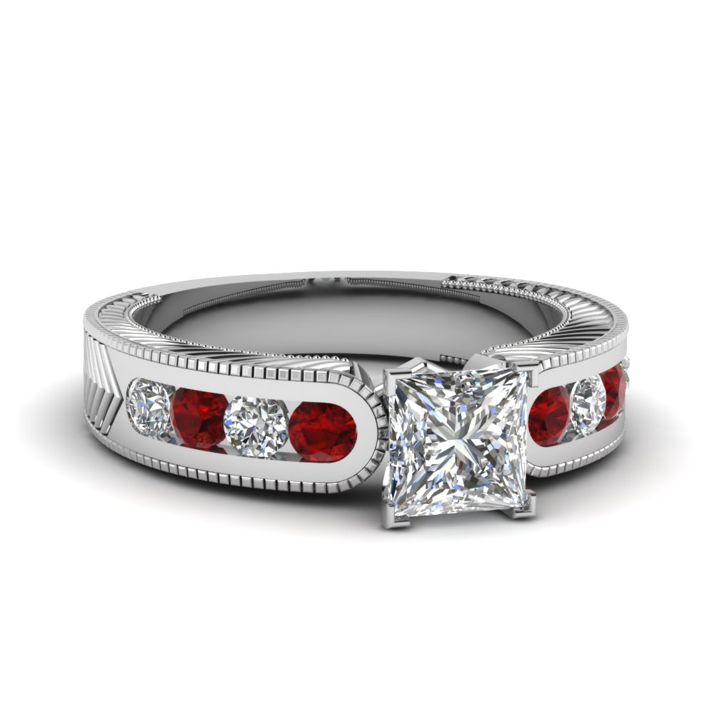 channel set princess cut moissanite vintage engagement ring with ruby in FDENS609PRRGRUDR NL WG
