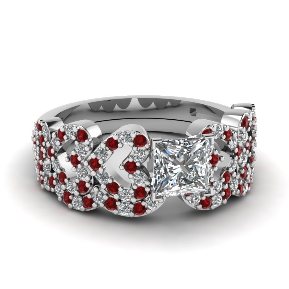 princess cut heart design linked diamond wedding set with ruby in FDENS3051PRGRUDR NL WG.jpg