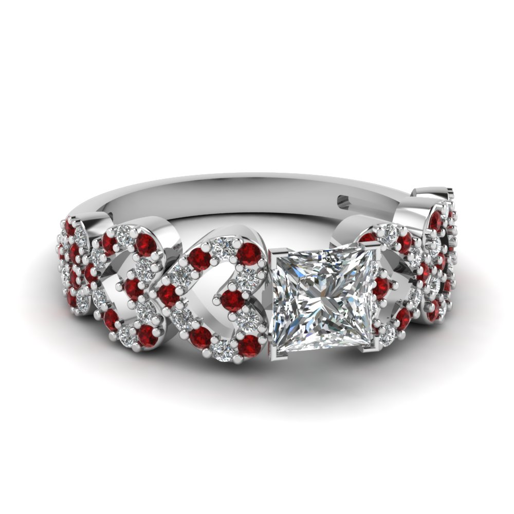 heart design linked princess cut diamond engagement ring with ruby in FDENS3051PRRGRUDR NL WG.jpg