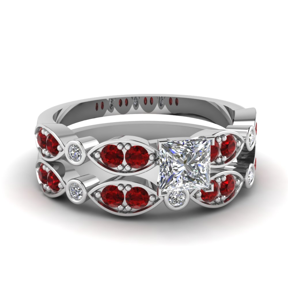 art deco princess cut diamond wedding ring set with ruby in FDENS2035PRGRUDR NL WG