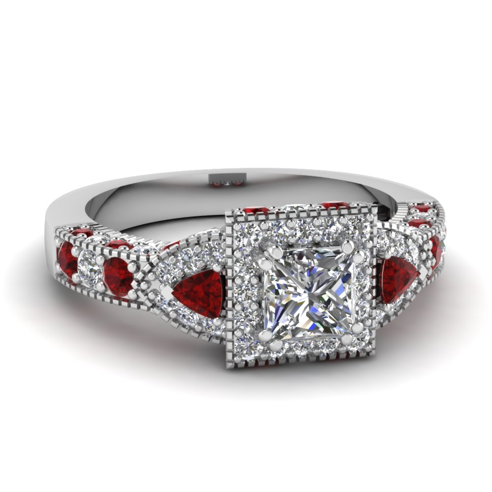 Milgrain Princess Ruby Halo Ring