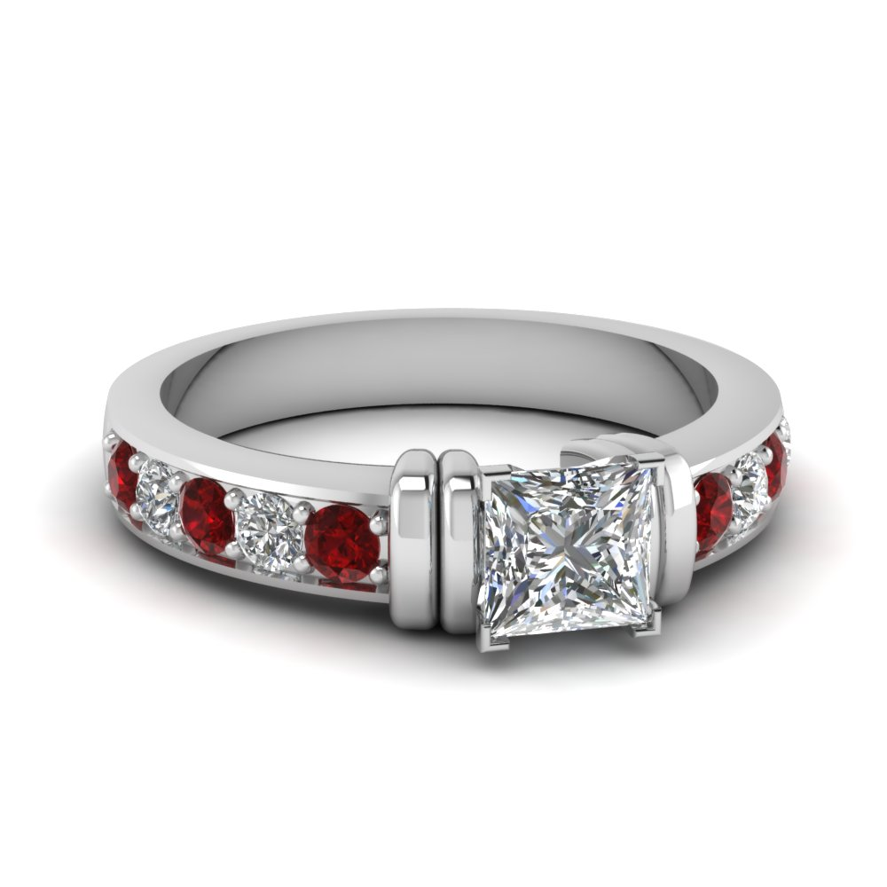 simple bar set princess cut diamond engagement ring with ruby in FDENR957PRRGRUDR Nl WG