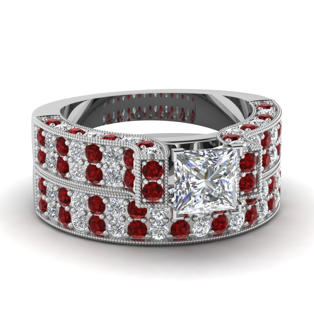 princess cut milgrain cathedral 2 row diamond wedding ring set with ruby in FDENS1048PRGRUDR NL WG