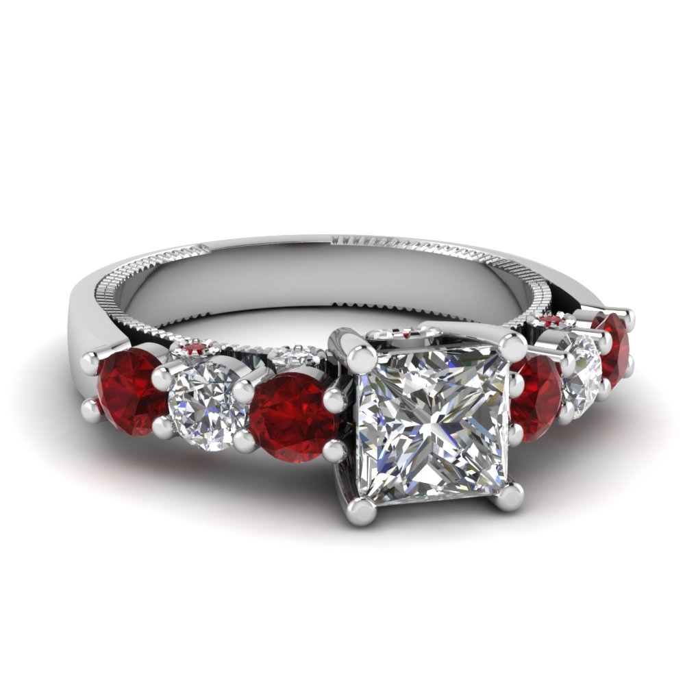Carved Ruby Side Stone Engagement Ring