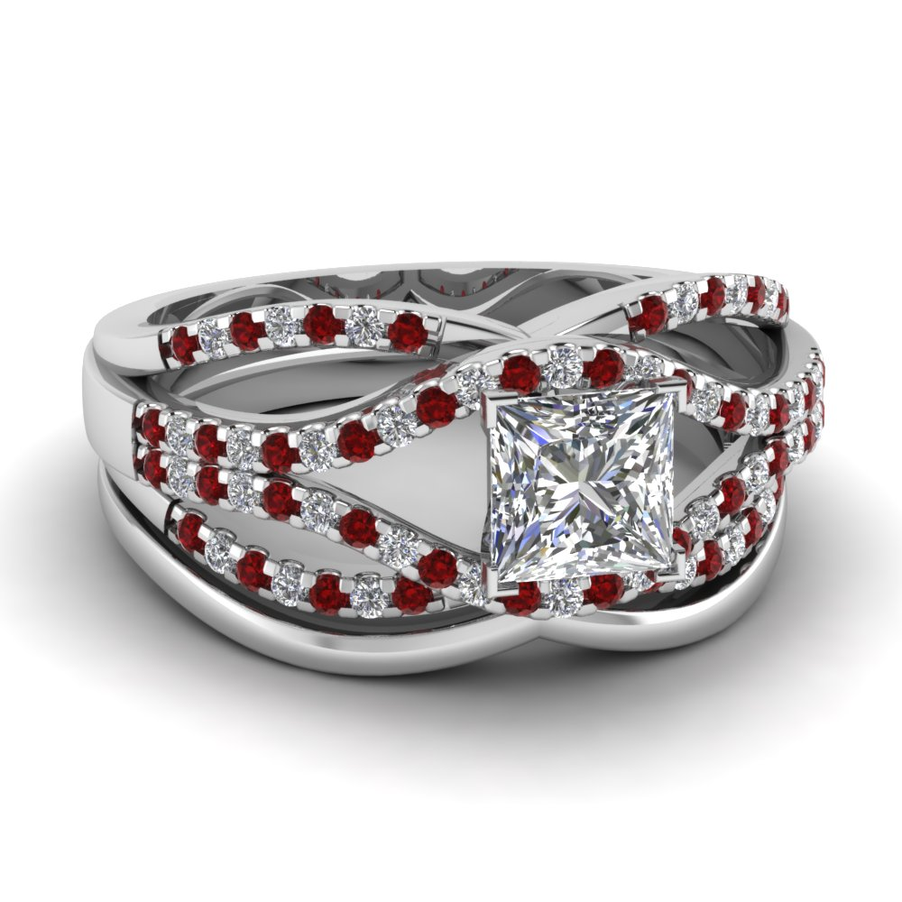 crossover multi strand princess cut diamond wedding ring set with ruby in FD67320PRGRUDR NL WG
