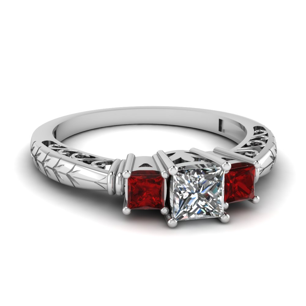 princess cut vintage 3 stone filigree engagement ring with ruby in FDENR8096PRRGRUDR NL WG