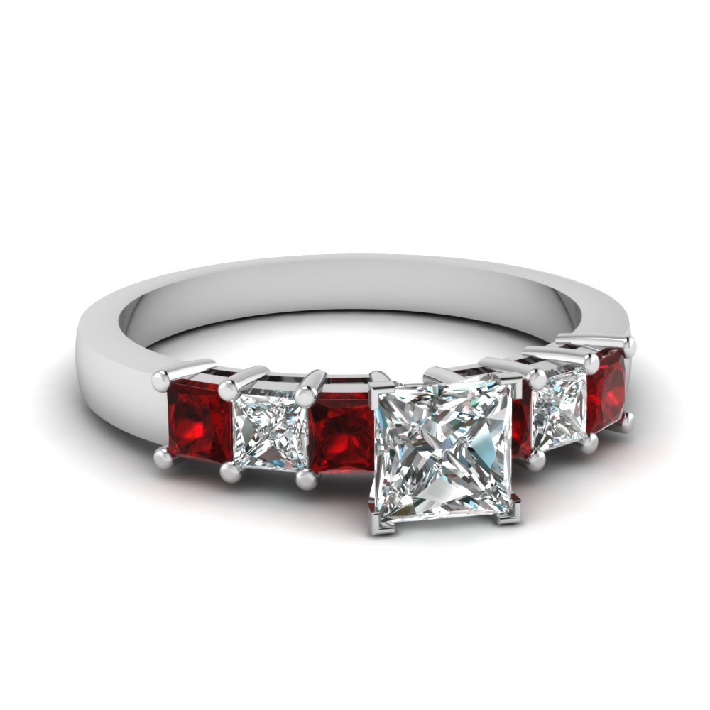 7 stone princess cut diamond engagement ring with ruby in FDENS1027PRRGRUDR NL WG