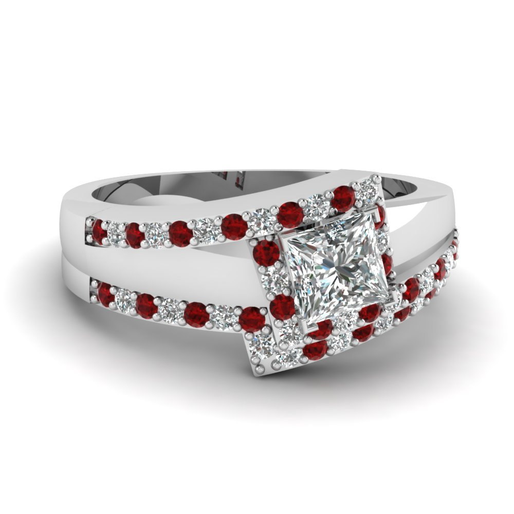 crossover princess cut halo diamond wedding set with ruby in FDENS3166PRGRUDR NL WG.jpg