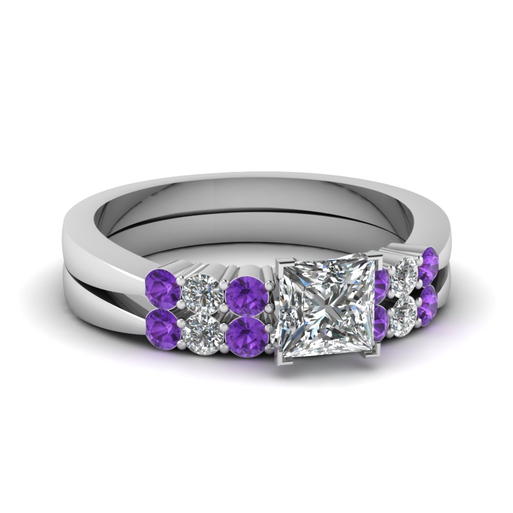 Tapered 7 Stone Purple Topaz Wedding Set