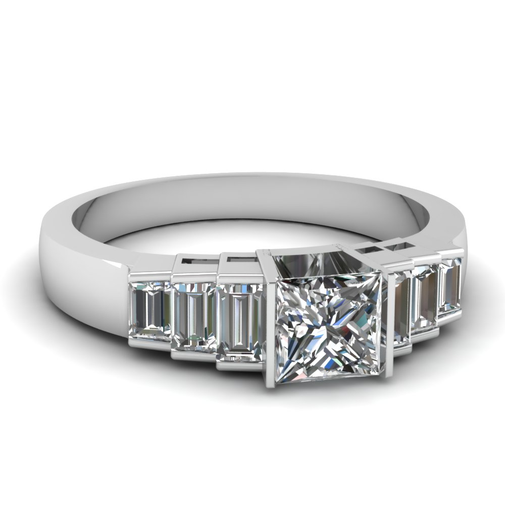 Step Baguette Accented Princess Cut Diamond Ring