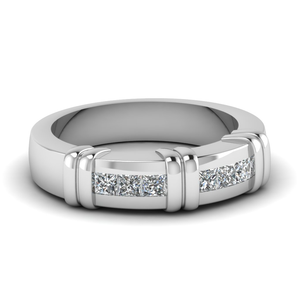 White Gold Princess White Diamond Mens Wedding Ring In Channel Set