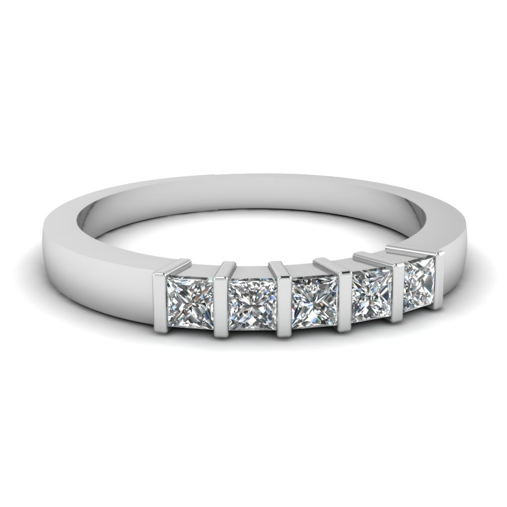 Princess cut Platinum Wedding Bands