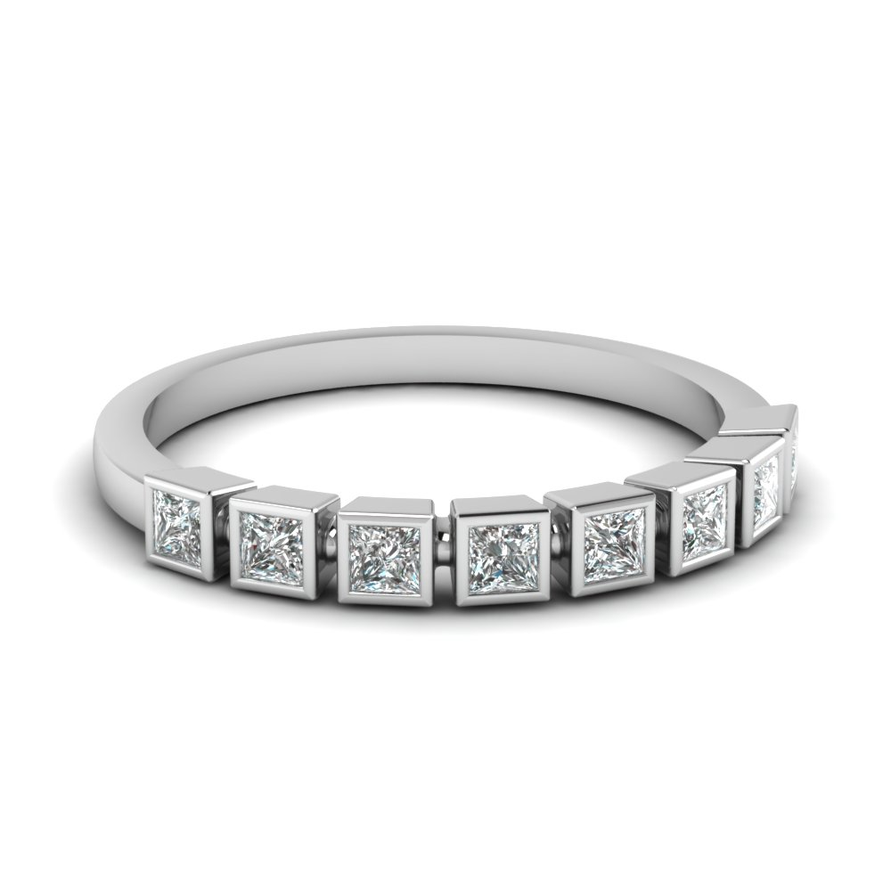 princess cut bezel diamond wedding band in FD62276B NL WG