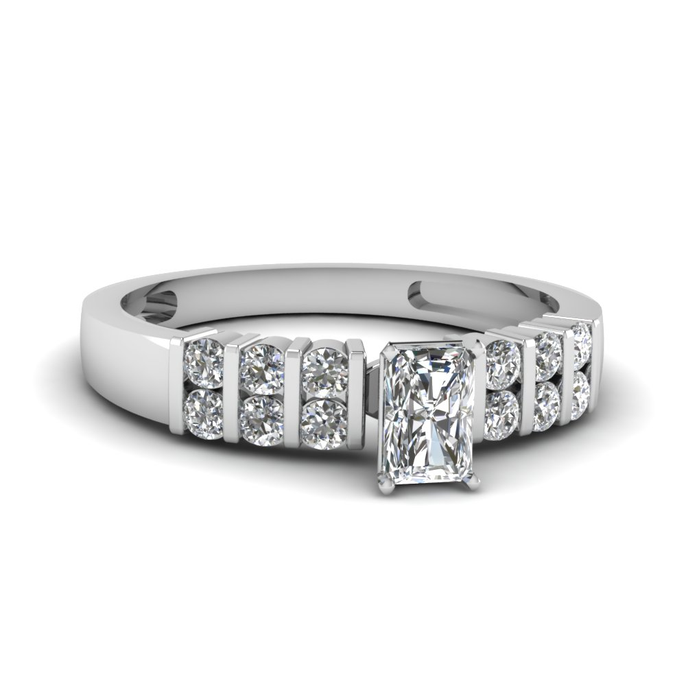 Radiant Cut Engagement Ring With Diamonds