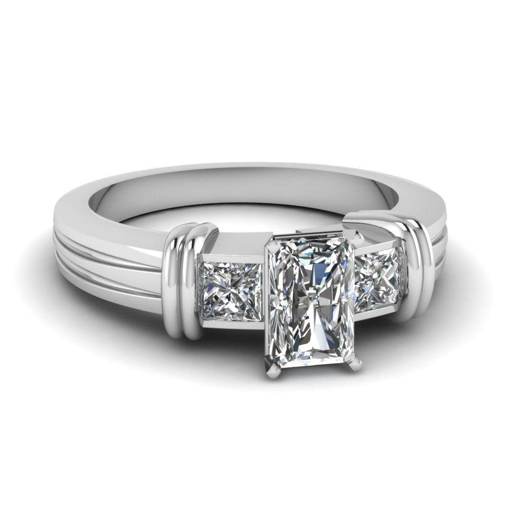 Bar 3 Stone Radiant Cut Engagement Ring In 950 Platinum