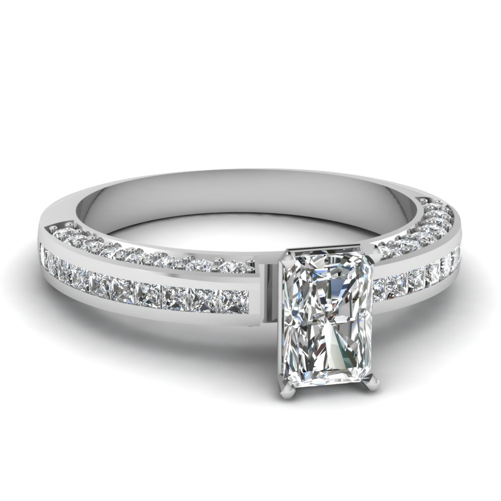 Platinum Modern Radiant Cut Diamond Ring