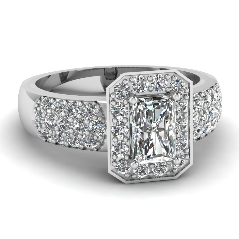 Octagon Three Row Radiant Diamond Engagement Ring In 14K