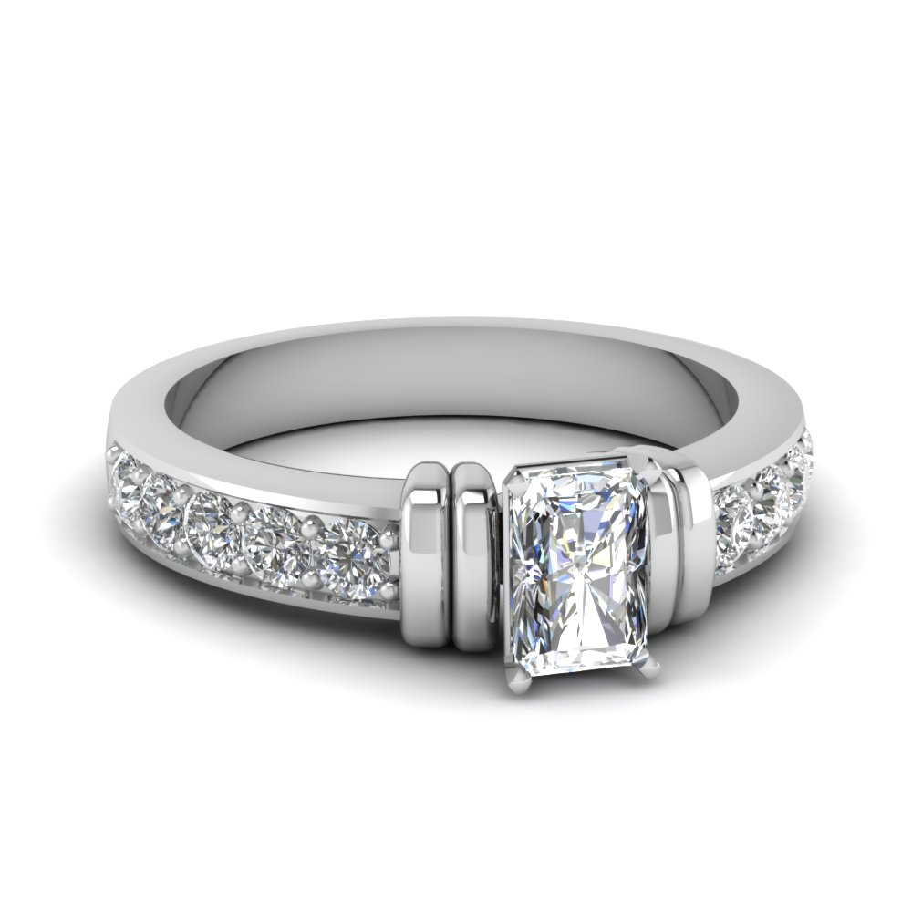 simple bar set radiant moissanite engagement ring in FDENR957RAR Nl WG
