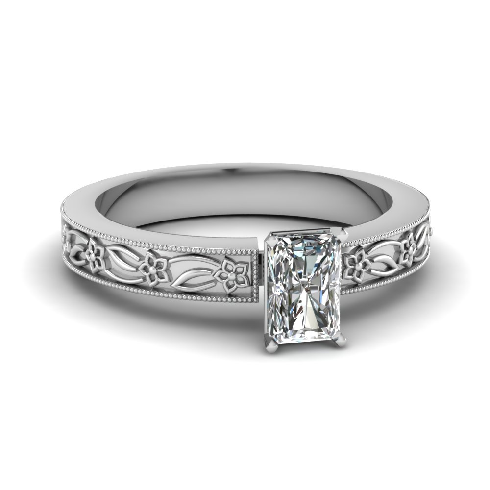 engraved flower radiant cut solitaire engagement ring in FDENS3537RAR NL WG