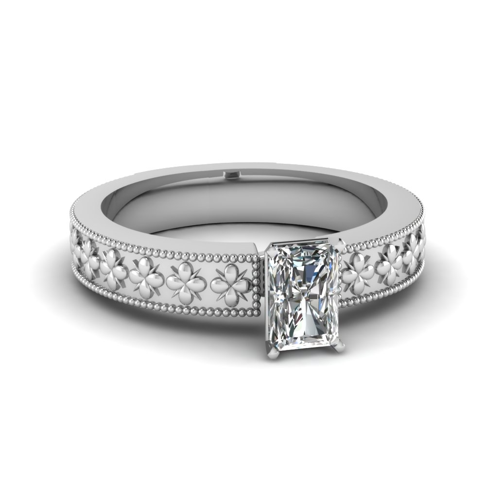Milgrain Bordered Floral Engraved Radiant Solitaire Ring