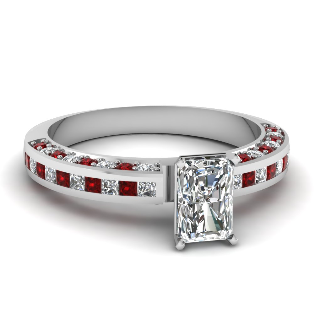 Radiant Cut Diamond Side Stone Ring With Red Ruby