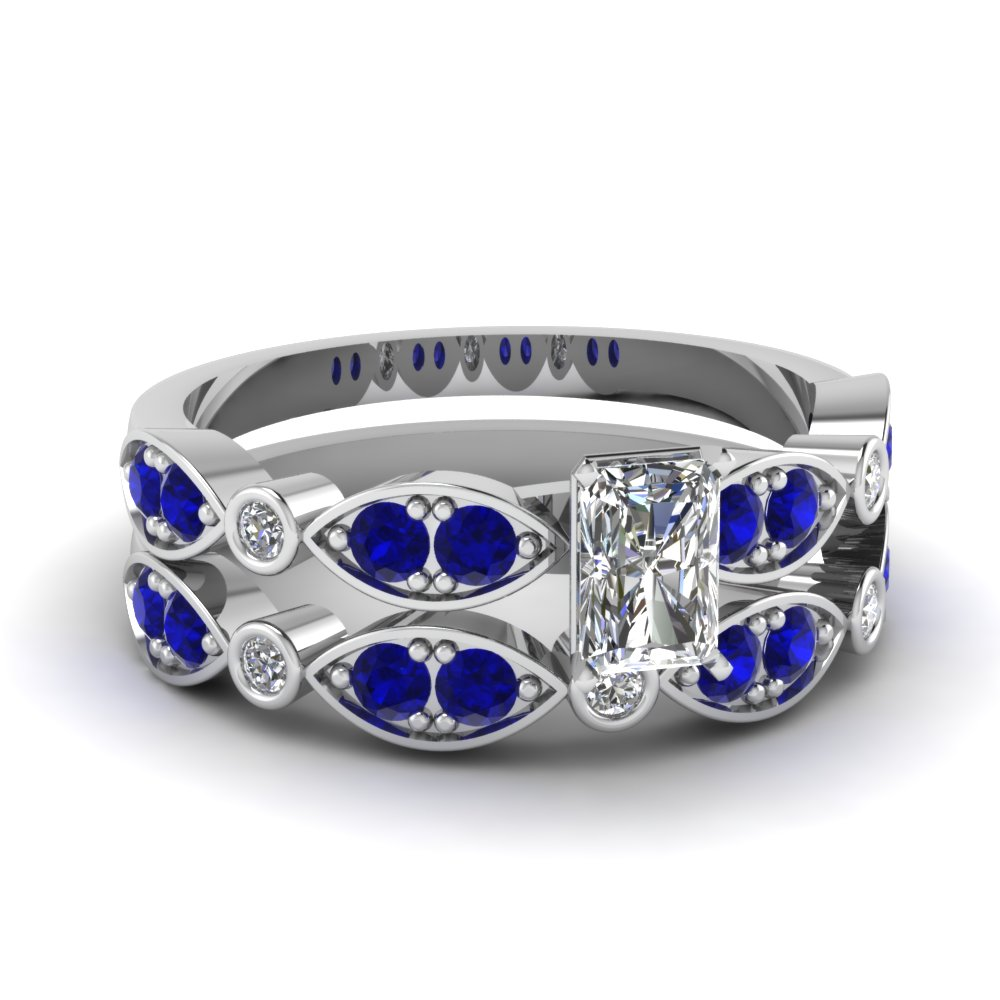 white-gold-radiant-white-diamond-engagement-wedding-ring-with-blue-sapphire-in-pave-bezel-set-FDENS2035RAGSABL-NL-WG